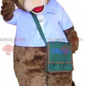 Medvěd hnědý maskot v kurýrním oblečení - Redbrokoly.com