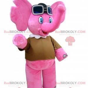 Pink elephant mascot with aviator glasses - Redbrokoly.com