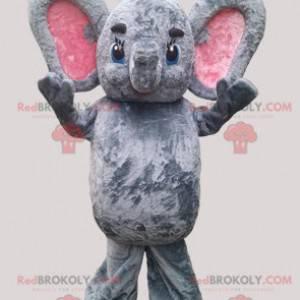 Graues und rosa Elefantenmaskottchen mit großen Ohren -