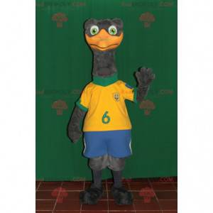 Obří šedý pštros maskot ve sportovním oblečení - Redbrokoly.com