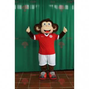 Braunes und beige Affenmaskottchen in Sportbekleidung -