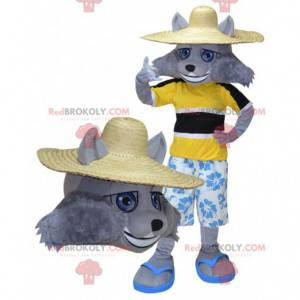 Šedý vlk maskot v oblečení pro rekreanty - Redbrokoly.com