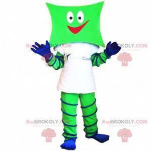 Grünes und blaues Schneemannmaskottchen mit einem quadratischen