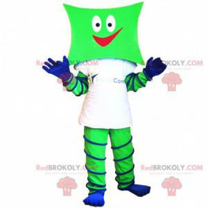 Green and blue snowman mascot with a square head -