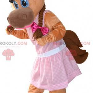 Brown horse mascot and feminine foal - Redbrokoly.com