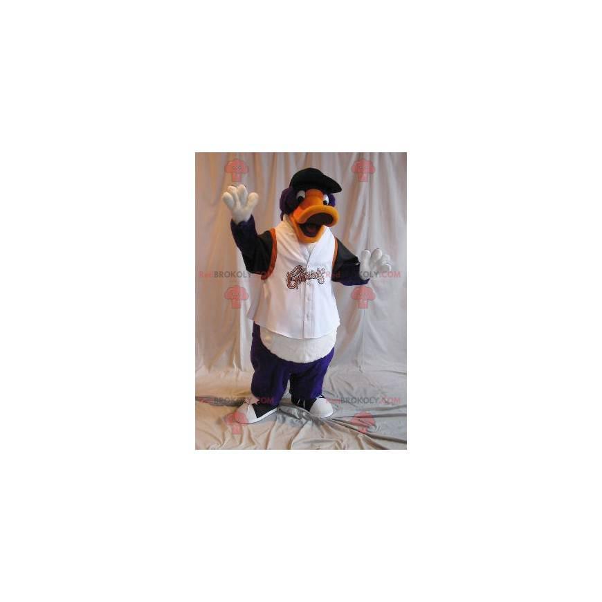 Lila und schwarz orange Entenmaskottchen in Sportbekleidung -