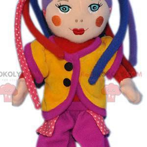 Zeer kleurrijke harlekijnpop clown mascotte - Redbrokoly.com