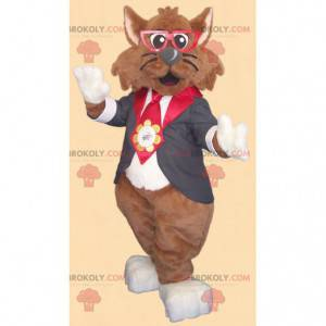 Maskot hnědá kočka s brýlemi a kravatový oblek - Redbrokoly.com