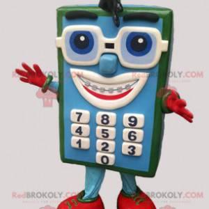Blue and green calculator mascot with glasses - Redbrokoly.com