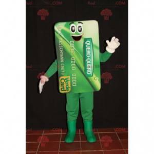Obří zelený bankovní karta maskot. Modrá karta - Redbrokoly.com
