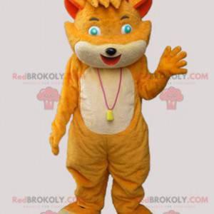 Soft and flirtatious orange and beige cat mascot -