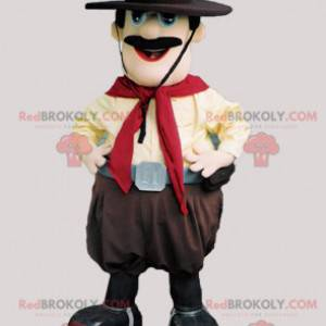 Mustached cowboy mascot with a hat - Redbrokoly.com