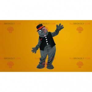 Roztomilý šedý mravenec maskot s kloboukem - Redbrokoly.com