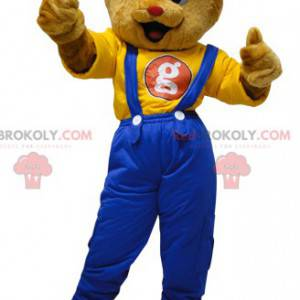 Teddy bear mascot dressed in overalls with a cap -