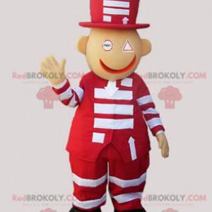 Maskot červené a bílé sněhulák s velkým kloboukem -