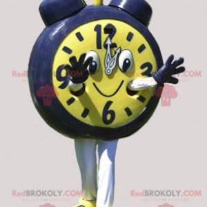 Giant yellow and black alarm clock mascot. Clock mascot -