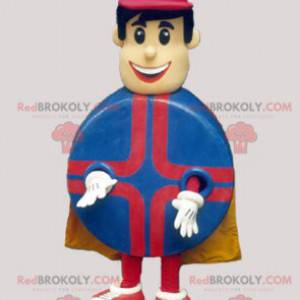 Superhelt mann maskot med en rund kropp - Redbrokoly.com