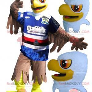 Maskot žlutá bílá a hnědá orlice ve sportovním oblečení -