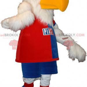 White eagle vulture mascot in sportswear - Redbrokoly.com