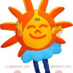 Orange and yellow sun mascot with a cloud - Redbrokoly.com
