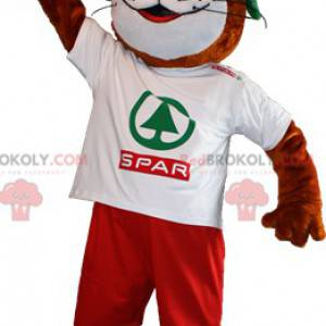 Brown and white otter mascot with green hair - Redbrokoly.com