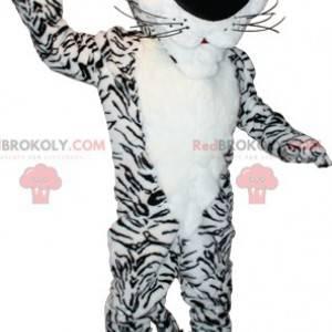 Sweet and cute white and black tiger mascot - Redbrokoly.com