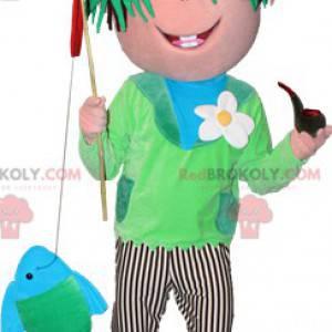 Gutt fisker maskot med grønt hår - Redbrokoly.com