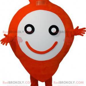 Bardzo uśmiechnięta pomarańczowo-biała maskotka bałwana -