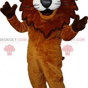 Hnědý a bílý lev maskot s korunou. lví král - Redbrokoly.com