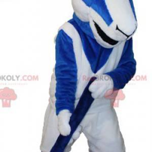 Modré a bílé kozí kozí maskot v hokejové výstroji -