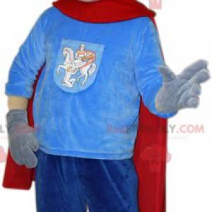 Riddermaskot med kappe og hjelm - Redbrokoly.com