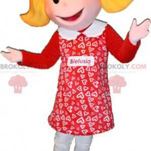 Maskottchen blondes Mädchen in rot gekleidet. Puppenmaskottchen