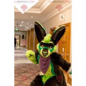Hnědý a zelený pes maskot všechny chlupaté - Redbrokoly.com