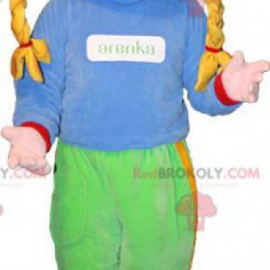 Maskot blondýnka s copánky a brýle - Redbrokoly.com