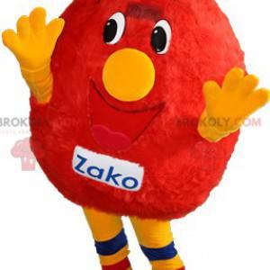 Maskott rød og gul snømann. Rød monster maskot - Redbrokoly.com