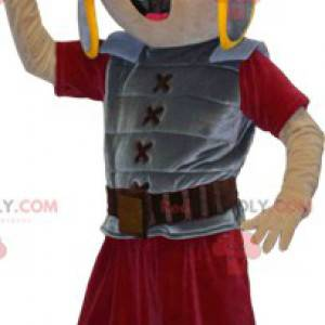 Gladiator-Maskottchen mit grauer und roter Rüstung -