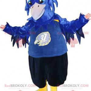 Maskot modrý černý a žlutý pták. Havraní maskot - Redbrokoly.com