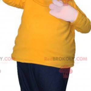 Glatzköpfiges Maskottchen mit Baskenmütze und buntem Outfit -