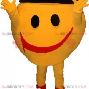 Sehr lächelndes gelbes Schneemannmaskottchen.