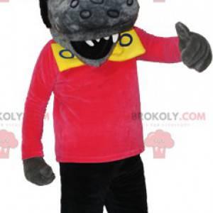 Šedý a černý vlk maskot s rockovým účesem - Redbrokoly.com