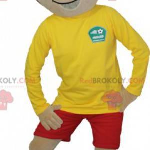 Hnědý chlapec maskot v sportovní oblečení - Redbrokoly.com