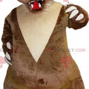 Braunes und beige Bärenmaskottchen, das ängstlich aussieht -