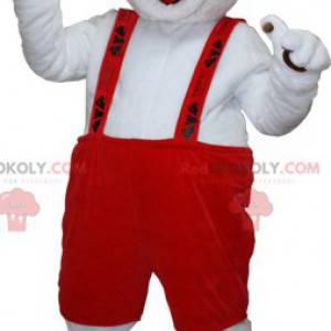 Bílý a hnědý pes maskot s kombinézou - Redbrokoly.com