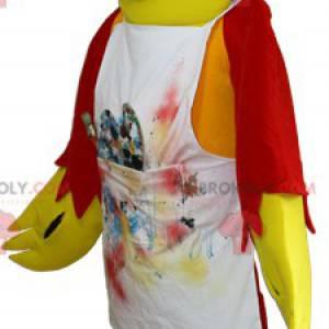 Żółta i czerwona papuga maskotka z fartuchem - Redbrokoly.com