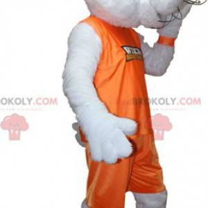 White rabbit mascot dressed in an orange sports outfit -