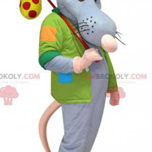 Giant blue and pink rat mascot with a jacket and a backpack -