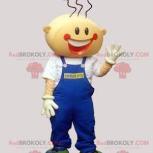 Smiling boy mascot with overalls - Redbrokoly.com