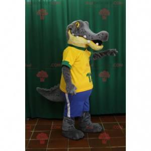 Graues und gelbes Alligatorkrokodilmaskottchen - Redbrokoly.com