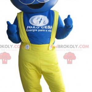 Modrý pracovník maskot oblečený ve žluté barvě - Redbrokoly.com
