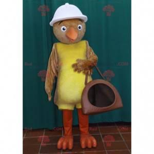 Brun og gul fuglemaskot med hvit hjelm - Redbrokoly.com